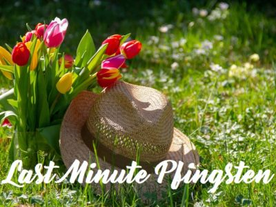 Last Minute Pfingsten hat and fowers in the grass